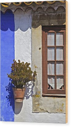 Rustic Brown Window Of The Medieval Village Of Obidos Wood Print by David Letts