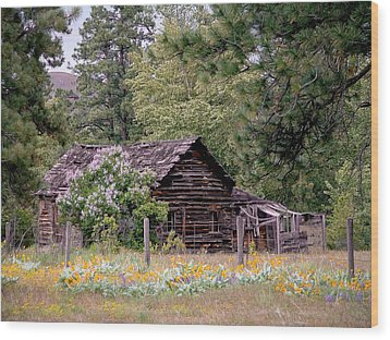Rustic Cabin In The Mountains Wood Print by Athena Mckinzie
