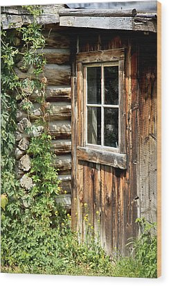Rustic Cabin Window Wood Print by Athena Mckinzie