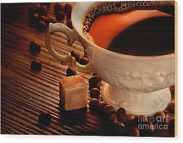 Rustic Coffee Wood Print by Mythja  Photography