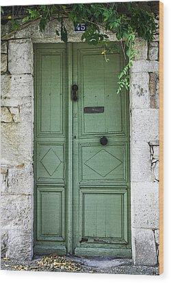 Rustic Green Door With Vines Wood Print by Georgia Fowler