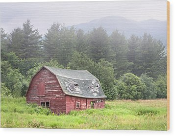 Rustic Landscape - Red Barn - Old Barn And Mountains Wood Print