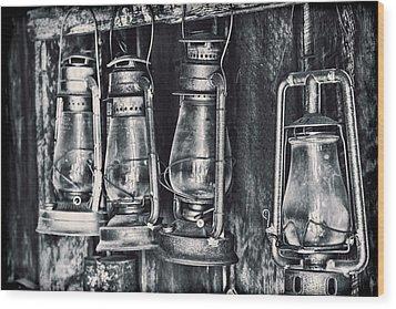 Rustic Lanterns Wood Print by Kelley King