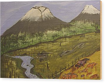 Rustic Mountain Scene Wood Print by Keith Nichols