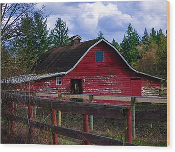 Wood Print featuring the photograph Rustic Old Horse Barn by Jordan Blackstone