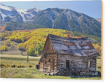 Rustic Rural Colorado Cabin Autumn Landscape Wood Print by James BO  Insogna