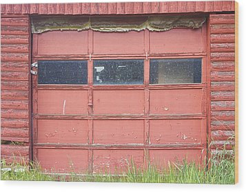 Rustic Rural Red Garage Door Wood Print by James BO  Insogna