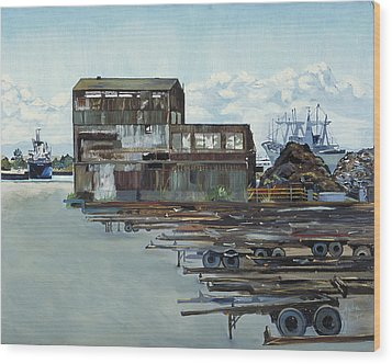 Rustic Schnitzer Steel Building With Trailers At The Port Of Oakland  Wood Print by Asha Carolyn Young