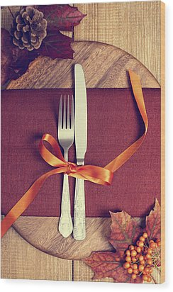 Rustic Table Setting For Autumn Wood Print by Amanda Elwell