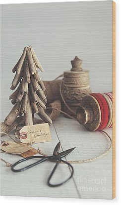 Wood Print featuring the photograph Rustic Twine And Ribbon For Wrapping Gifts by Sandra Cunningham