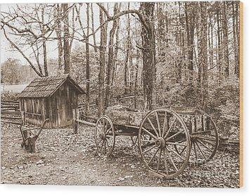 Rustic Wagon Wood Print by Debbie Green