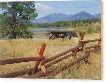 Rustic Wagon Wood Print by Marty Koch