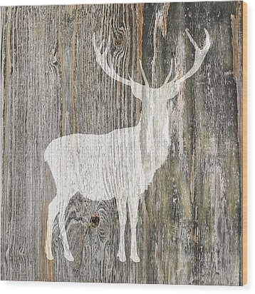 Rustic White Stag Deer Silhouette On Wood Right Facing Wood Print by Suzanne Powers