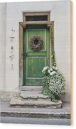 Rustic Wooden Village Door - Austria Wood Print by Gary Whitton
