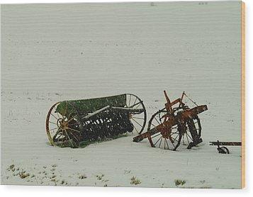 Rusting In The Snow Wood Print by Jeff Swan
