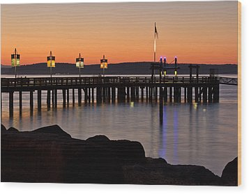 Ruston Way Tacoma Sunset Wood Print by Bob Noble Photography