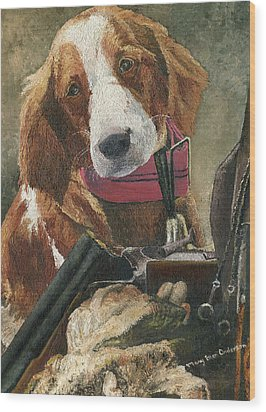 Rusty - A Hunting Dog Wood Print by Mary Ellen Anderson