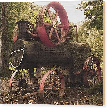 Rusty Antique Steam Engine Wood Print by Michael Spano