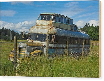 Rusty Bus Wood Print by Crystal Hoeveler