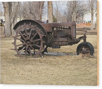 Rusty Case Tractor Wood Print by Steven Parker