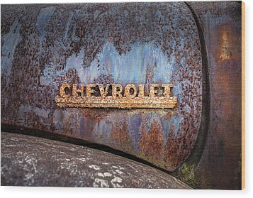 Wood Print featuring the photograph Rusty Chevrolet - Nameplate - Old Chevy Sign by Gary Heller