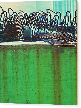 Rusty Coils 2 Wood Print by Laurie Tsemak