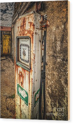 Rusty Gas Pump Wood Print by Adrian Evans