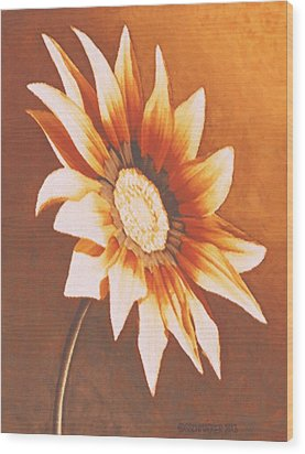 Wood Print featuring the painting Rusty Gazania by Sophia Schmierer