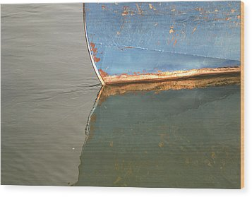 Rusty Hull Reflection Wood Print by Bill Mock