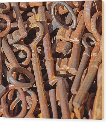 Rusty Keys Wood Print by Art Block Collections