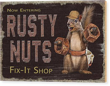 Wood Print featuring the painting Rusty Nuts by JQ Licensing