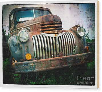 Rusty Old Chevy Pickup Wood Print by Edward Fielding