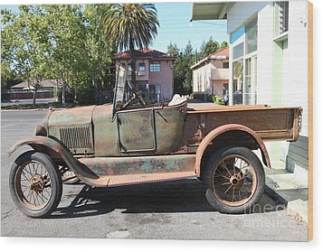 Rusty Old Ford Jalopy 5d24649 Wood Print by Wingsdomain Art and Photography