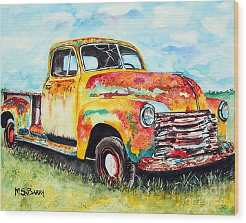 Rusty Old Truck Wood Print by Maria Barry
