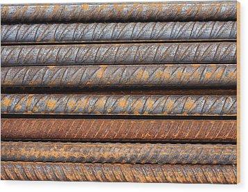 Rusty Rebar Rods Metallic Pattern Wood Print