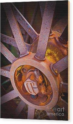 Rusty Spokes Wood Print by Inge Johnsson