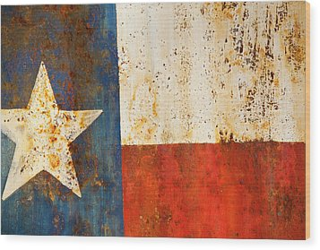 Rusty Texas Flag Rust And Metal Series Wood Print by Mark Weaver