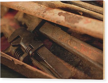 Rusty Toolbox And Tools Wood Print by Wilma  Birdwell