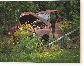 Wood Print featuring the photograph Rusty Truck Flower Bed - Charming Rustic Country by Gary Heller
