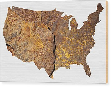 Rusty Usa Map Wood Print