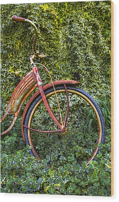 Rusty Wheel Wood Print by Debra and Dave Vanderlaan