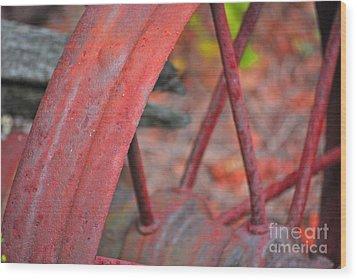 Rusty Wheel Wood Print by Jim Rossol