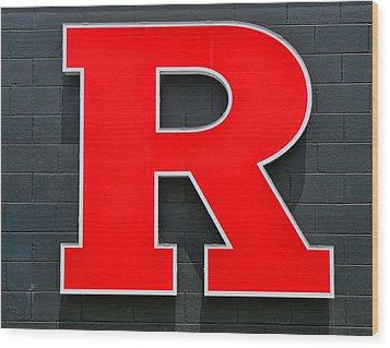 Rutgers Block R Wood Print by Allen Beatty