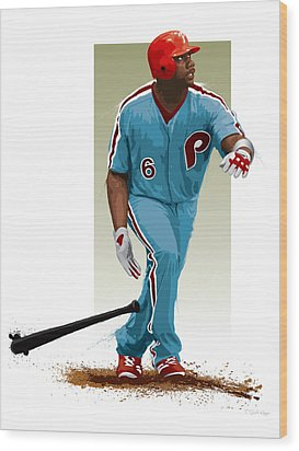 Wood Print featuring the digital art Ryan Howard by Scott Weigner