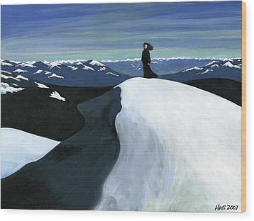 Ryder On The Mountain Wood Print by Holly  Whitstock Seeger