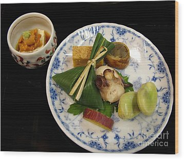 Wood Print featuring the photograph Ryokan Dinner by Carol Sweetwood