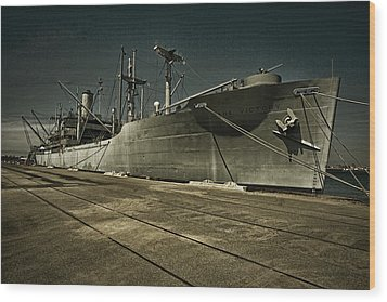 Wood Print featuring the photograph S. S. Lane Victory ... W W 2 Era Victory Class Cargo Ship by Chuck Caramella