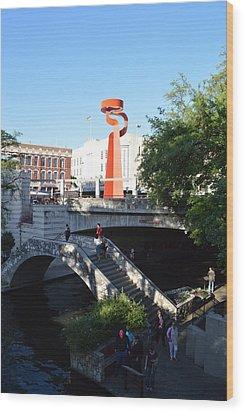 Wood Print featuring the photograph Sa River Walk by Shawn Marlow