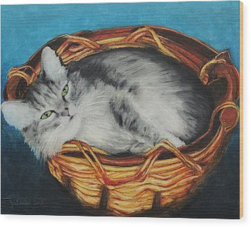 Sabrina In Her Basket Wood Print by Jeanne Fischer