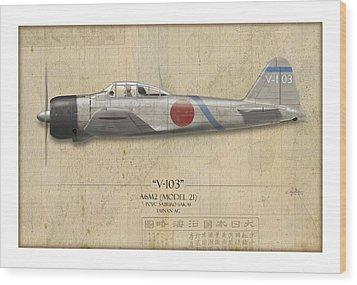 Saburo Sakai A6m Zero - Map Background Wood Print by Craig Tinder